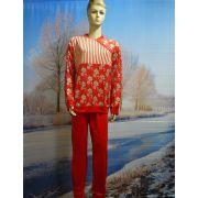 Dames pyjama velours Streep/bloem rood
