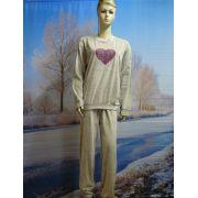 Dames pyjama velours Hart grijs