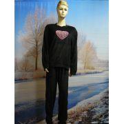 Dames pyjama velours Hart zwart