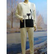 Lunatex meisjes pyjama velours 'Poes' ivoor