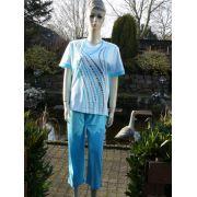 Hajo dames pyjama 3/4 broek 'Zebra' blauw