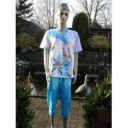 Hajo dames pyjama 3/4 broek 'Safari' blauw
