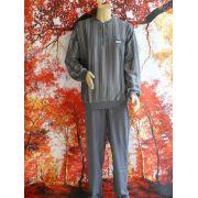 Gentlemen heren pyjama 'verticaal streep knoop' grijs