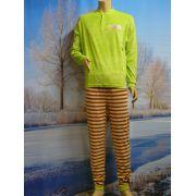 Lunatex meisjes pyjama velours 'lime' streep broek