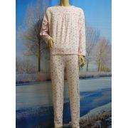 Lunatex meisjes pyjama velours fijn 'bloem' roze