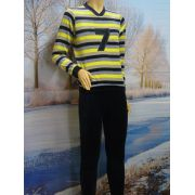 Lunatex jongens pyjama velours 'streep' marine/geel