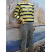 Lunatex jongens pyjama velours 'streep' grijs/geel