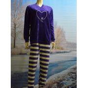 Lunatex meisjes pyjama velours 'hart' grof streep broek paars
