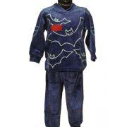Lunatex jongens pyjama velours 'Vleermuis' blauw