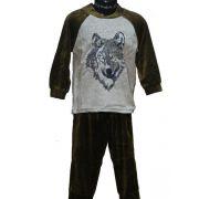 Lunatex jongens pyjama velours 'Wolf' bruin/groen