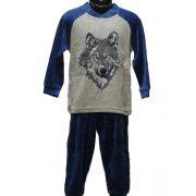 Lunatex jongens pyjama velours 'Wolf' jeans