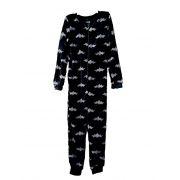 Outfitter kinder onesie fleece 'Vleermuis' zwart