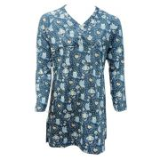 Bakery Nights dames nachthemd lange mouw 'Flower' zeegroen