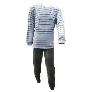 Outfitter heren pyjama velours 'Streep' grijs mêlee