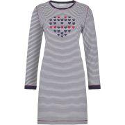 Pastunette dames nachthemd lange mouw 'Streep/hart' marine