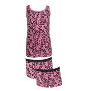 Funderwear meisjes set 'Luipaard' donkerroze