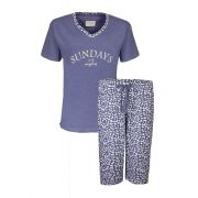 Irresistible dames pyjama 3/4 broek 'Sundays' jeans mêlee