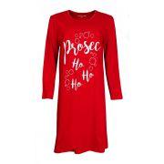 Temptation nachthemd lange mouw 'Prosec ho ho' rood