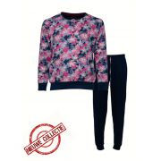 Medaillon dames pyjama 'Colour flowers' marine/roze