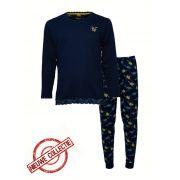 Tenderness dames pyjama 'Uni bloem' marine/geel
