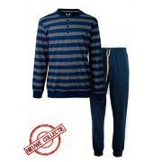 M.E.Q. heren pyjama 'Grof/fijn streep' marine