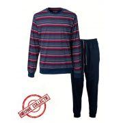 Paul Hopkins heren pyjama 'Grof streep' marine/rood