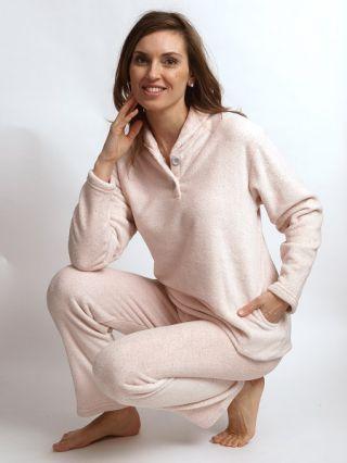 Cocodream dames huispak fleece 'Panter' roze