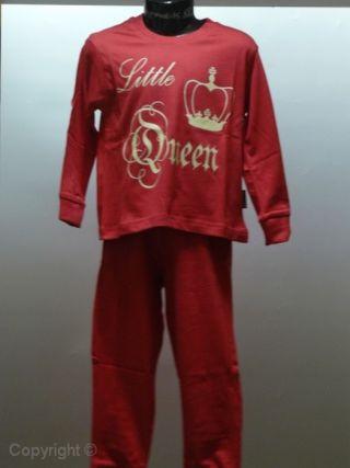 Funderwear meisjes pyjama 'Little Queen' rood