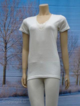 Entex dames shirt korte mouw 10% wol