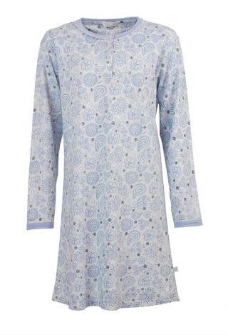 Tenderness dames nachthemd lange mouw licht geruwd 'Paisley' bleu