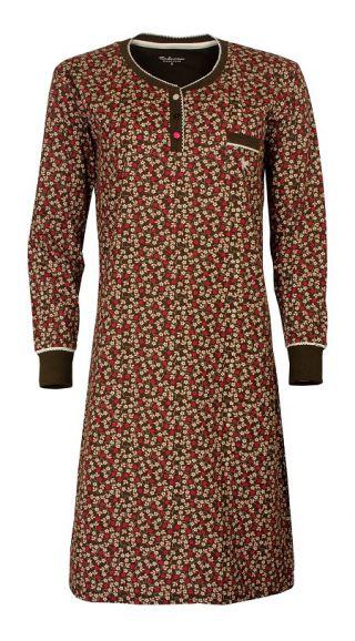 Tenderness dames nachthemd lange mouw 'Flower all-over' bruin
