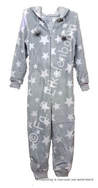 Cocodream dames onesie fleece 'Ster' grijs