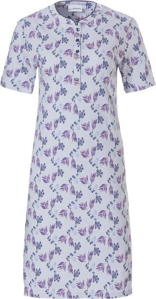 Pastunette dames nachthemd korte mouw 'Leaves flower' blue