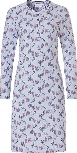 Pastunette dames nachthemd lange mouw 'Leaves flower' blue